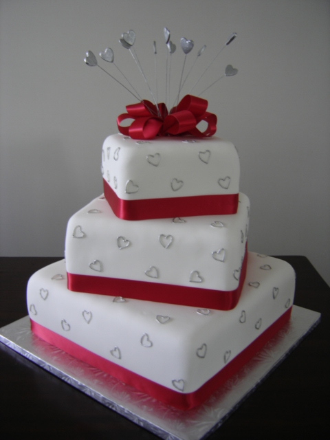Red Tiered Wedding Cake