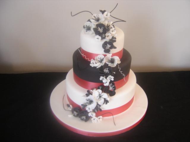 black white red cake